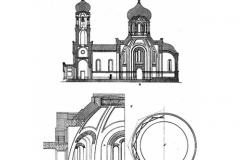 Разрез и констр. покрытия храма на 550 чел.